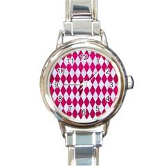 Diamond1 White Marble & Pink Leather Round Italian Charm Watch