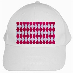 Diamond1 White Marble & Pink Leather White Cap by trendistuff