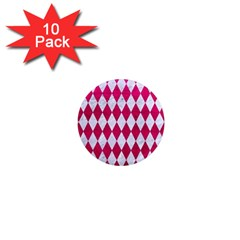 Diamond1 White Marble & Pink Leather 1  Mini Magnet (10 Pack)  by trendistuff