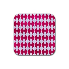 Diamond1 White Marble & Pink Leather Rubber Coaster (square)