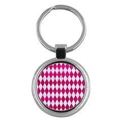 Diamond1 White Marble & Pink Leather Key Chains (round)  by trendistuff