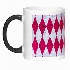 Diamond1 White Marble & Pink Leather Morph Mugs by trendistuff