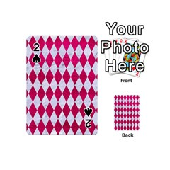 Diamond1 White Marble & Pink Leather Playing Cards 54 (mini)  by trendistuff
