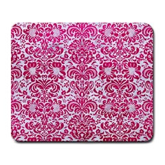 Damask2 White Marble & Pink Leather (r) Large Mousepads