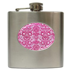 Damask2 White Marble & Pink Leather (r) Hip Flask (6 Oz)