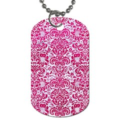 Damask2 White Marble & Pink Leather (r) Dog Tag (two Sides)