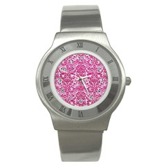 Damask2 White Marble & Pink Leather (r) Stainless Steel Watch