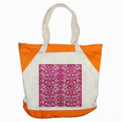 Damask2 White Marble & Pink Leather (r) Accent Tote Bag