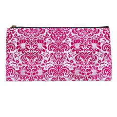 Damask2 White Marble & Pink Leather (r) Pencil Cases by trendistuff