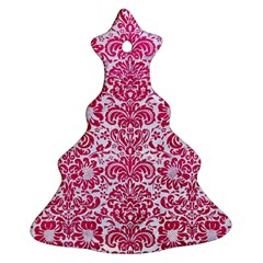 Damask2 White Marble & Pink Leather (r) Ornament (christmas Tree)