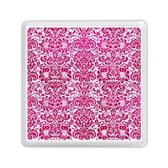 Damask2 White Marble & Pink Leather (r) Memory Card Reader (square)