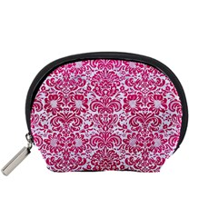 Damask2 White Marble & Pink Leather (r) Accessory Pouches (small)