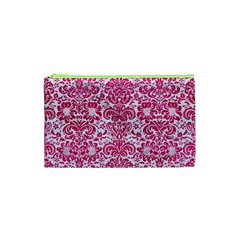 Damask2 White Marble & Pink Leather (r) Cosmetic Bag (xs)