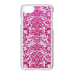 Damask2 White Marble & Pink Leather (r) Apple Iphone 7 Seamless Case (white)