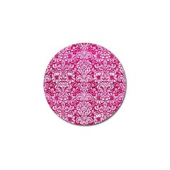 Damask2 White Marble & Pink Leather Golf Ball Marker