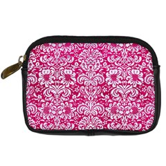 Damask2 White Marble & Pink Leather Digital Camera Cases by trendistuff