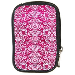 Damask2 White Marble & Pink Leather Compact Camera Cases by trendistuff