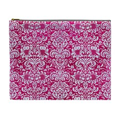 Damask2 White Marble & Pink Leather Cosmetic Bag (xl)