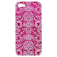 Damask2 White Marble & Pink Leather Apple Iphone 5 Hardshell Case by trendistuff