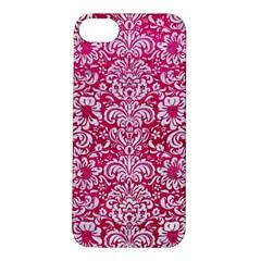 Damask2 White Marble & Pink Leather Apple Iphone 5s/ Se Hardshell Case