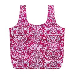 Damask2 White Marble & Pink Leather Full Print Recycle Bags (l)