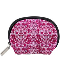 Damask2 White Marble & Pink Leather Accessory Pouches (small)  by trendistuff