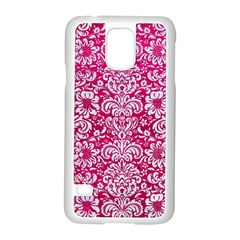 Damask2 White Marble & Pink Leather Samsung Galaxy S5 Case (white)