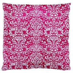 Damask2 White Marble & Pink Leather Standard Flano Cushion Case (two Sides)