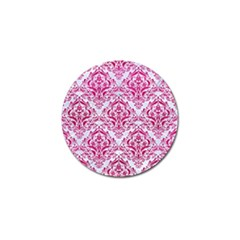 Damask1 White Marble & Pink Leather (r) Golf Ball Marker