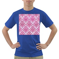 Damask1 White Marble & Pink Leather (r) Dark T Shirt