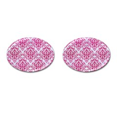 Damask1 White Marble & Pink Leather (r) Cufflinks (oval) by trendistuff