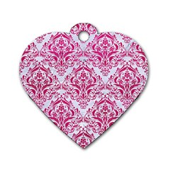 Damask1 White Marble & Pink Leather (r) Dog Tag Heart (one Side)