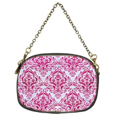 Damask1 White Marble & Pink Leather (r) Chain Purses (two Sides)