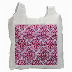 Damask1 White Marble & Pink Leather (r) Recycle Bag (two Side)