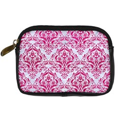 Damask1 White Marble & Pink Leather (r) Digital Camera Cases by trendistuff
