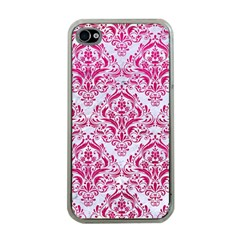 Damask1 White Marble & Pink Leather (r) Apple Iphone 4 Case (clear)