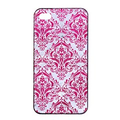 Damask1 White Marble & Pink Leather (r) Apple Iphone 4/4s Seamless Case (black) by trendistuff
