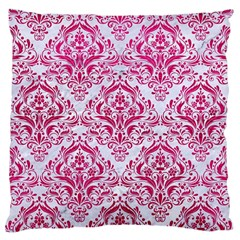 Damask1 White Marble & Pink Leather (r) Large Cushion Case (one Side)