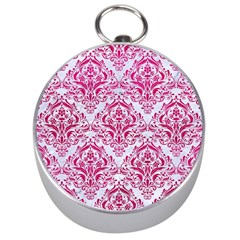 Damask1 White Marble & Pink Leather (r) Silver Compasses by trendistuff