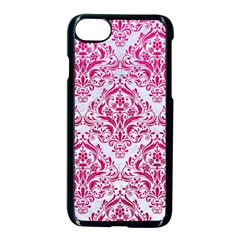 Damask1 White Marble & Pink Leather (r) Apple Iphone 8 Seamless Case (black) by trendistuff