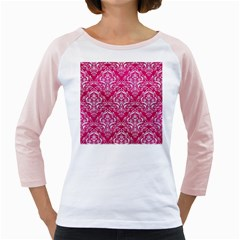 Damask1 White Marble & Pink Leather Girly Raglans