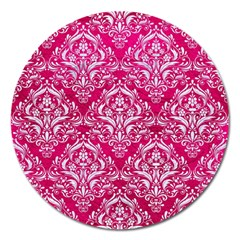 Damask1 White Marble & Pink Leather Magnet 5  (round)