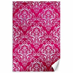 Damask1 White Marble & Pink Leather Canvas 20  X 30   by trendistuff