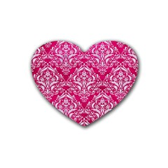Damask1 White Marble & Pink Leather Rubber Coaster (heart)