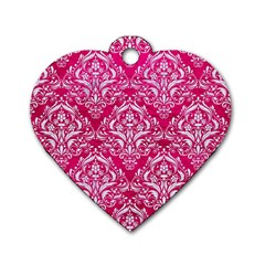 Damask1 White Marble & Pink Leather Dog Tag Heart (two Sides) by trendistuff