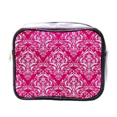 Damask1 White Marble & Pink Leather Mini Toiletries Bags