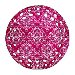 Damask1 White Marble & Pink Leather Round Filigree Ornament (two Sides)