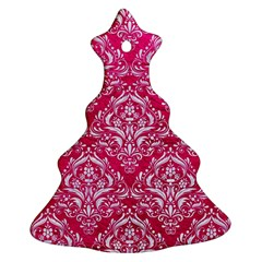 Damask1 White Marble & Pink Leather Christmas Tree Ornament (two Sides)