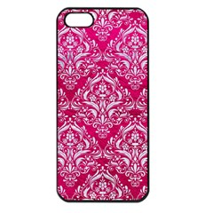 Damask1 White Marble & Pink Leather Apple Iphone 5 Seamless Case (black)