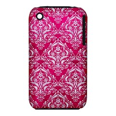 Damask1 White Marble & Pink Leather Iphone 3s/3gs